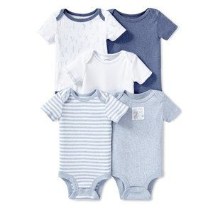 Lamaze Short Sleeve Organic Cotton Bodysuits 5Pk